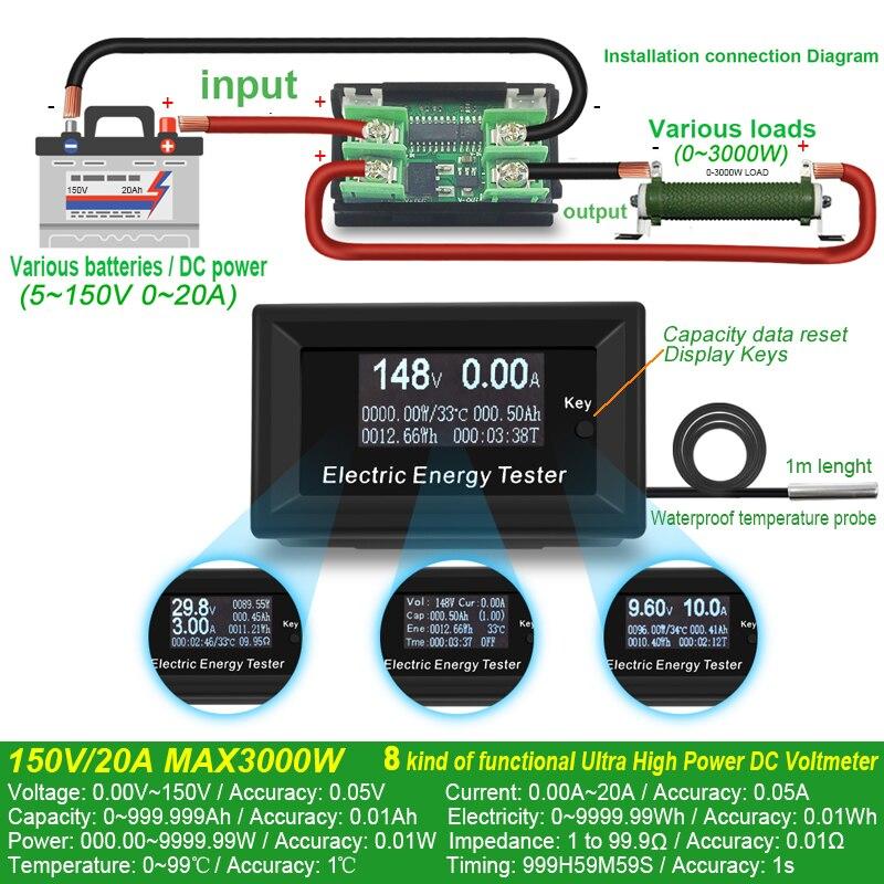 ATORCH DC Strom Meter digital voltmeter amperemeter spannung amperímetro wattmeter volt kapazität tester anzeige lcd-monitor