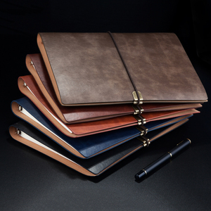 Image 2 - RuiZe vintage B5 notebook cover travel journal diary A5 leather spiral notebook planner 6 ring binder note book agenda 2020