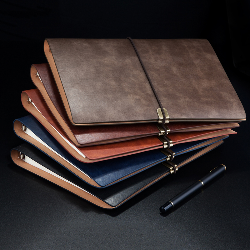 Image 2 - RuiZe vintage notebook cover travel journal diary B5 A5 leather spiral notebook planner 6 ring binder note book stationery-in Notebooks from Office & School Supplies