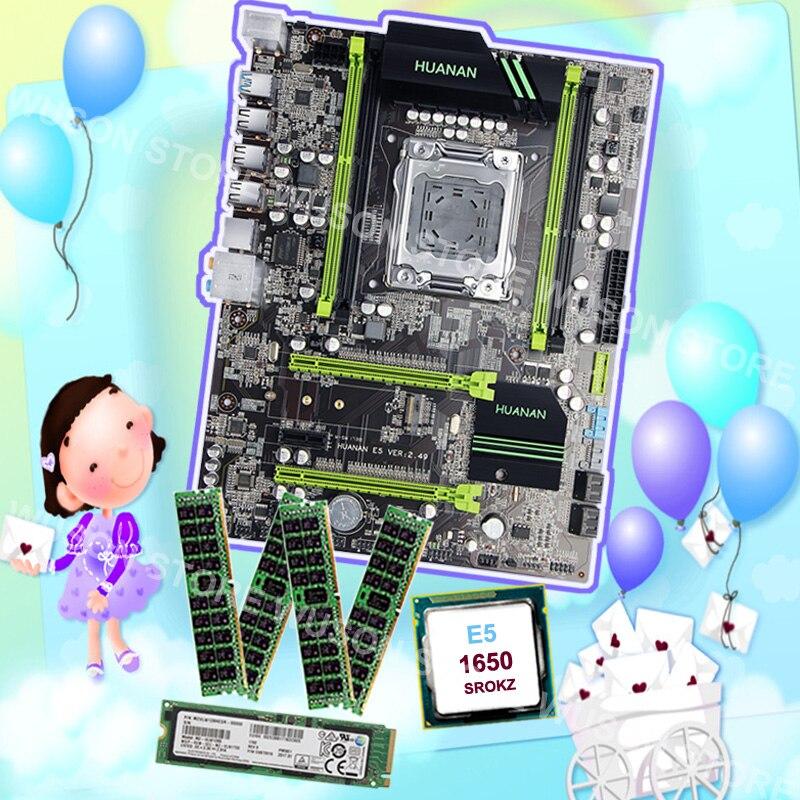 Marque nouvelle carte mère HUANAN ZHI remise X79 carte mère avec M.2 128g SSD RAM 32g (4*8 g) 1600 RECC CPU Xeon E5 1650 C2 3.2 ghz