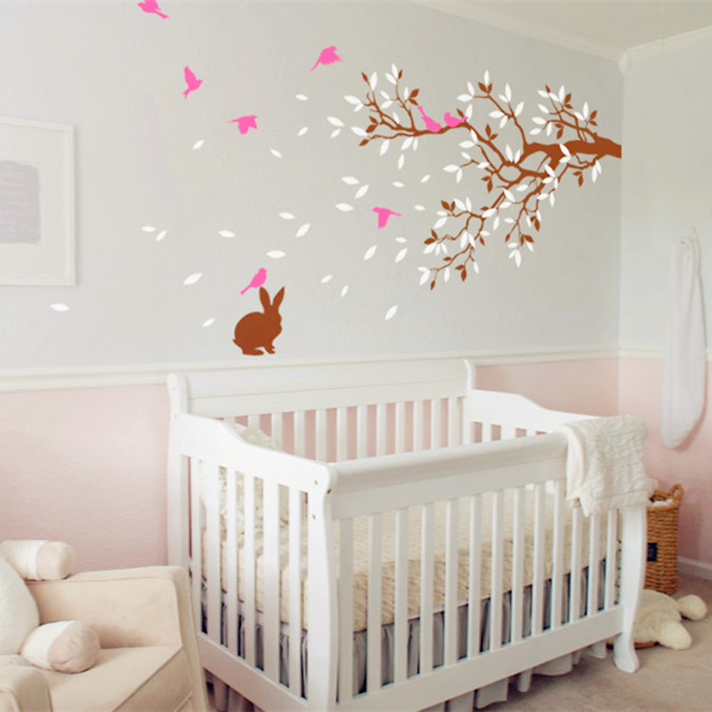 Nursery Room Wall Decal With Cute Rabbit – Branches With Birds Wall  Stickers – Baby Nursery Bedroom Wall Art Decor Wallpaper