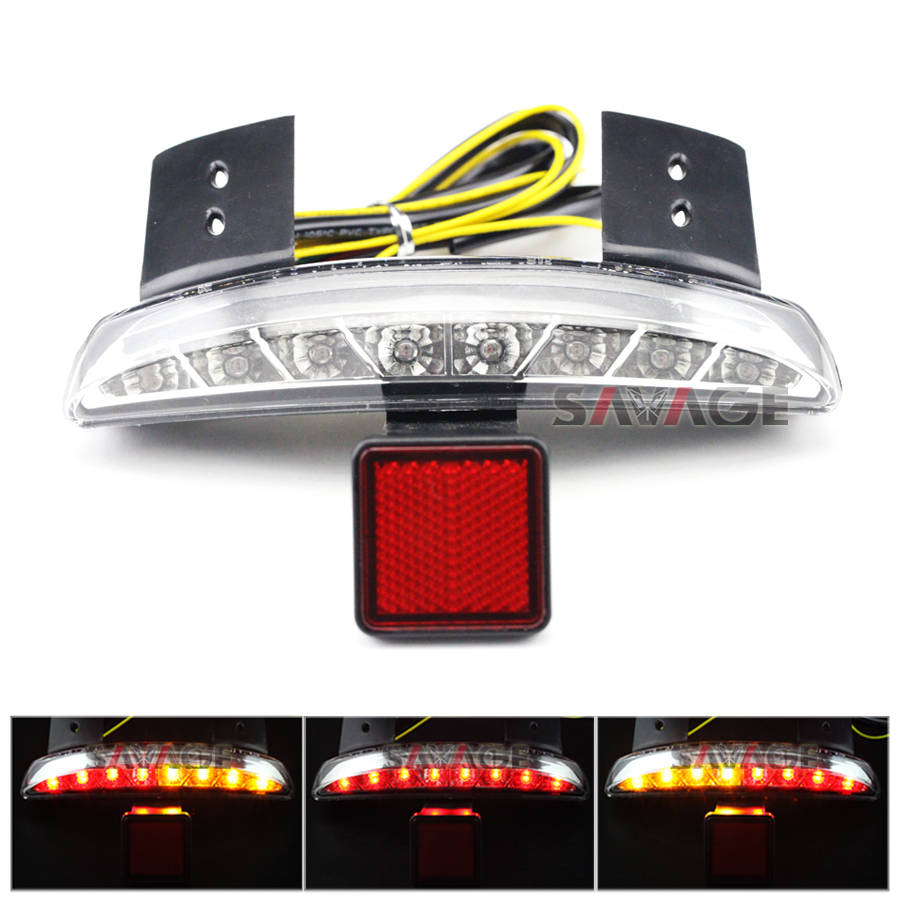 Chopped Fender Edge LED Tail Light For Harley Iron XL883 XL1200 X48 Clear