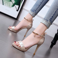 new diamond sandals for women with fine heels and high heels Korean version 34 small size gold open toed women's shoes