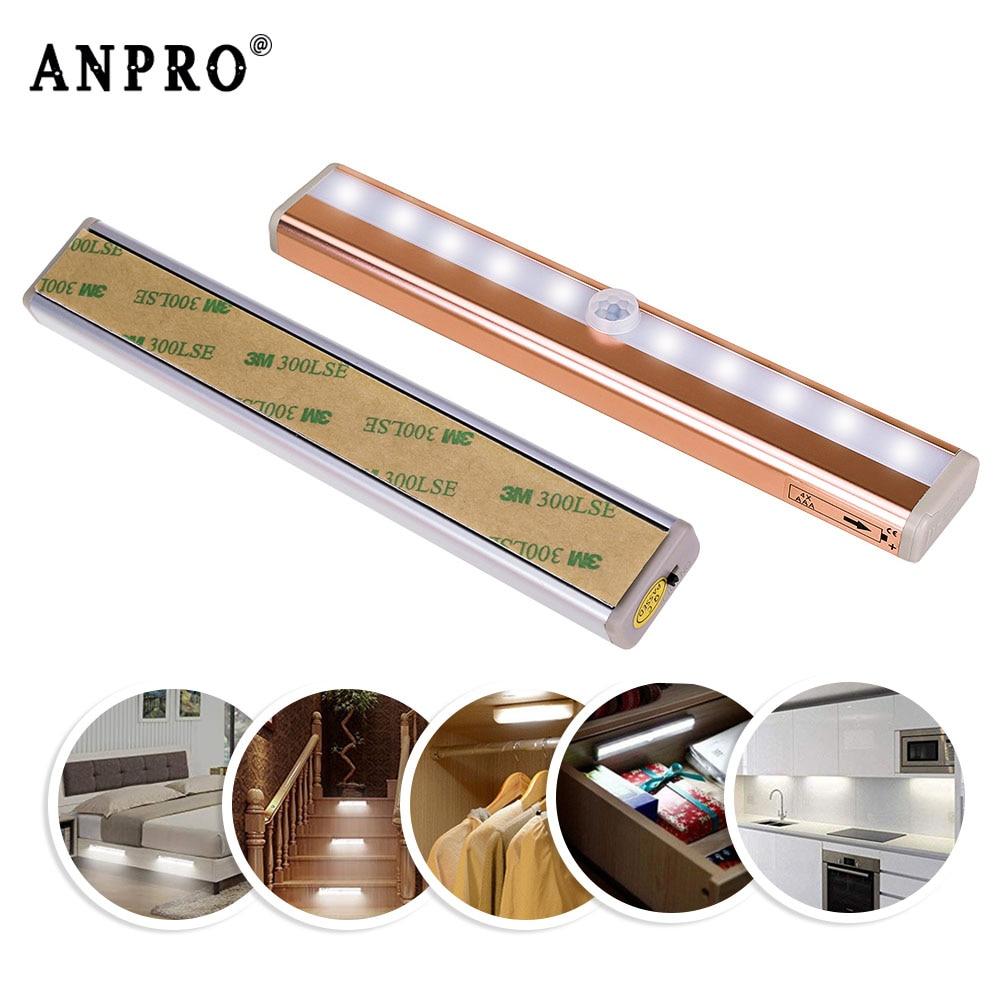 Anpro Led Cabinet Light Wireless PIR Motion Sensor Night ...