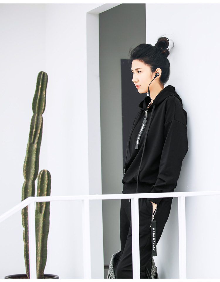 Double puppet suit women casual 17 spring new solid hooded two piece set zipper long sleeve 371009 6