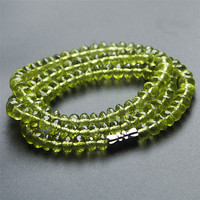 Натуральная Натуральная Зеленая оливин Перидот драгоценные камни Кристаллы лицом бисера модные женские Чокеры ожерелье 6 мм Прямая достав