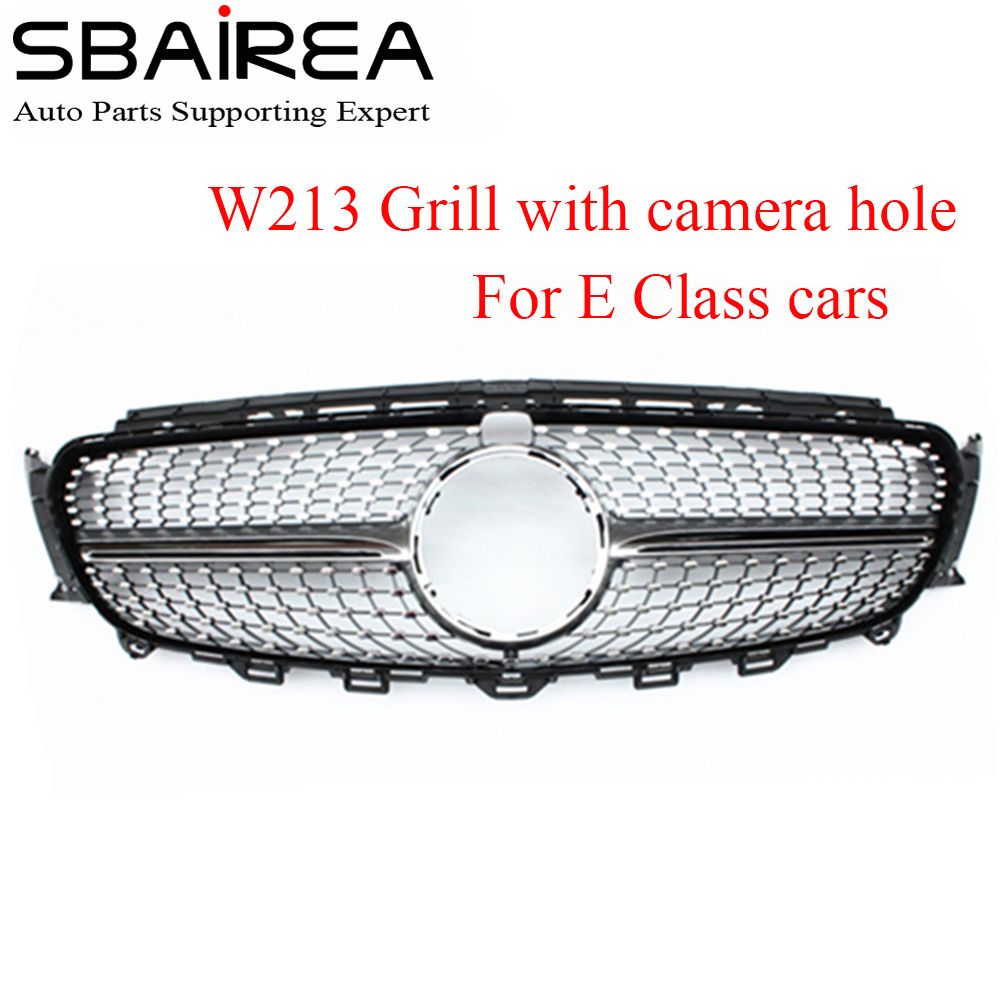 SBAIREA Car Diamonds Grille Front Bumper Racing Grill Suitable For E Class W213 Car Grill 2016 E43 E45 E200 E300 E250 E320 E350 image