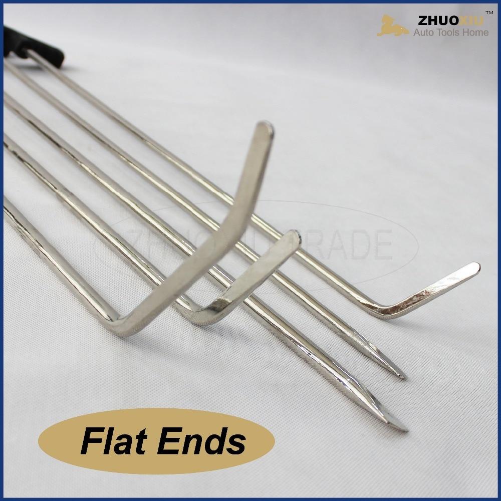 Купить с кэшбэком Auto PDR Paintless Hail Rods Kit Flat End Dent Puller Repair Tools dents push rods prybar hood panel door hook bar pull bar diy