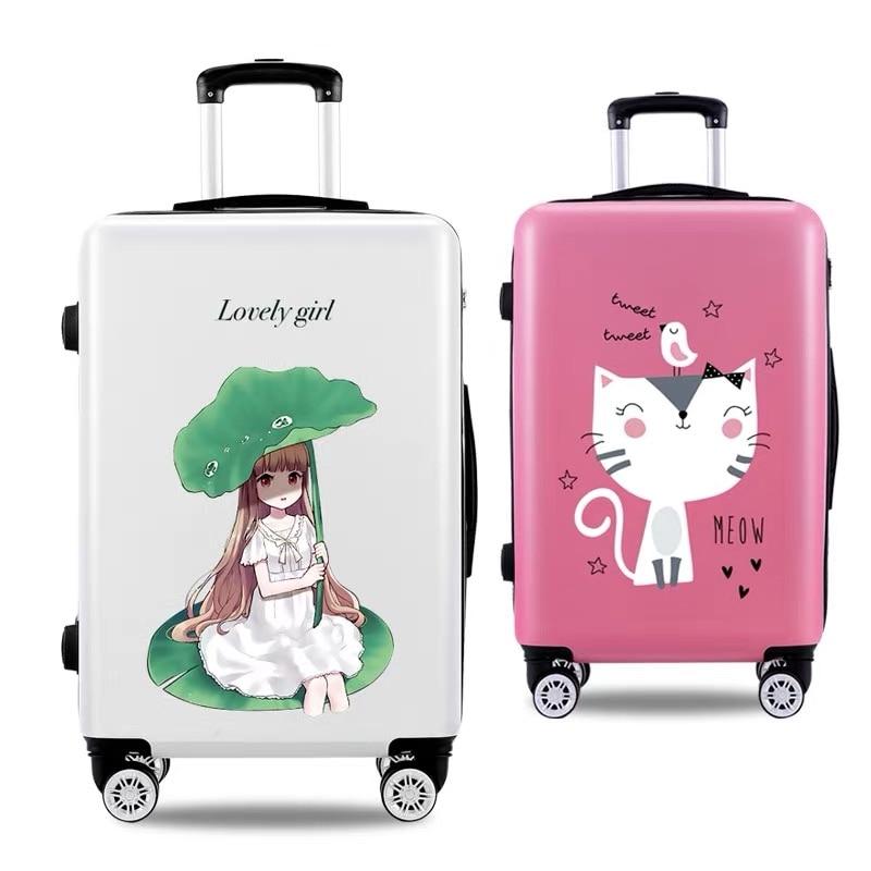 새로운 어린이 귀여운 고품질 20 22 24 26 인치 롤링 수하물 가방 여자 핑크 스피너 브랜드 애니메이션 여행 가방 대 트롤리 가방-에서캐리 온부터 수화물 & 가방 의  그룹 1