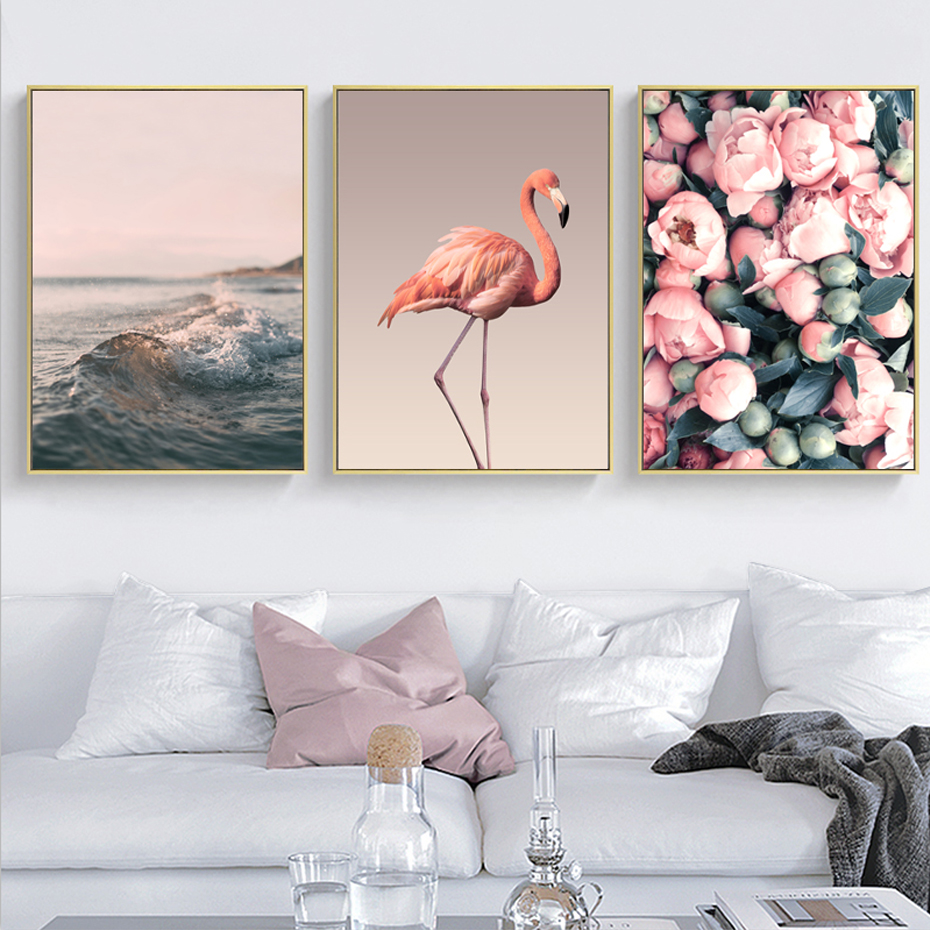 Modern Romantic Pink Peony Flamingo Love Wall Art Wave Scene Pictures Canvas Paintings Nordic Posters Prints Bedroom Home Decor in Painting Calligraphy from Home Garden