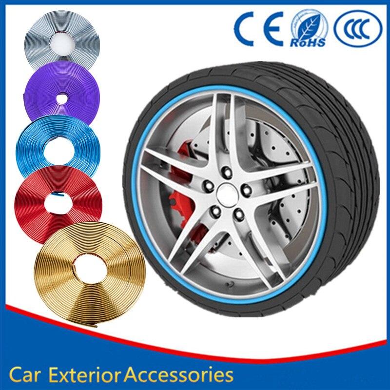 Car Styling 8M Wheel Hub Tire Sticker Car Wheel Rim Tire Decorative Strip Cover For Hyundai Tucson Solaris Creta IX35 I30 Mini