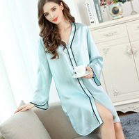 2018 NEW Real Silk Nightgowns Female Sleepwear Spring Summer Silk Sleepshirts Pure Color Simple Long Sleeve