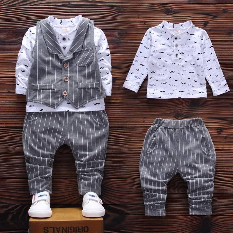 **HIGH QUALITY**2016 autumn Children boy kids cotton whiskers design Shirt & Striped vest & pants 3 piece clothing set 1-5 years