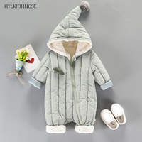 HYLKIDHUOSE 2017 Infant Newborn Rompers Autumn Winter Baby Girls Boys Rompers Children Kids Hooded Jumpsuits One