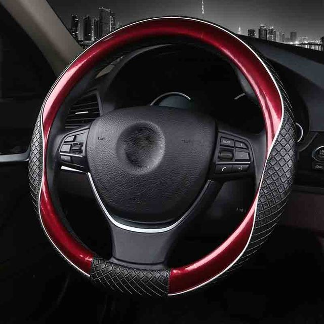 3d sport car steering wheel covers micro fiber leather two tone