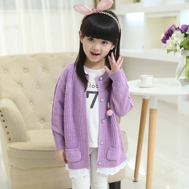 Chica Cardigan Niños Ropa 2016 Nuevos niños de Primavera Chicas Coreanas de manga larga Suéter Borla Niño Cardigan Bebé Suéter escudo