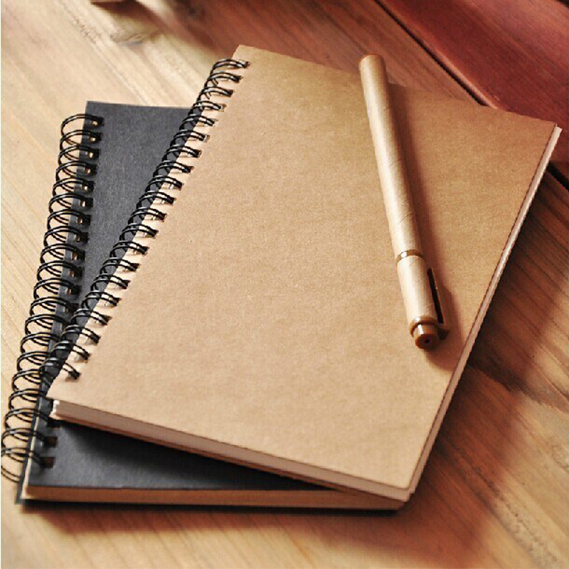 Vintage Blank Notebook Paper Black Kahki Soft Cover Sketch Diary Book Note For Drawing Painting Student School Office Stationery