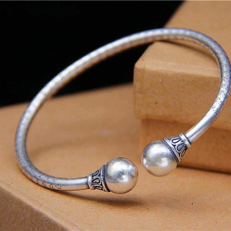 Bracelet Mantra Vintage en argent 990 Bracelet homme/femme Bracelet coeur Sutra Bracelet Braclet fait à la main en argent thaï bouddhisme bijoux ethniques