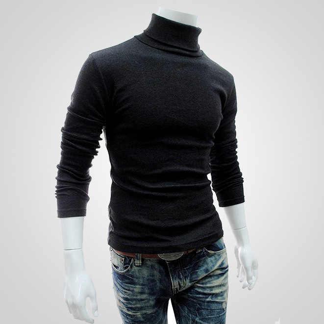 SHUJIN 2019 Sonbahar Kış erkek Kazak Erkekler Balıkçı Yaka Katı Renk Casual Kazak Homme Slim Fit Örme Pamuk Kazak