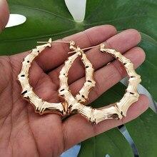 Sohot na moda brincos de argola de bambu feminino ouro cor prata clássico jóias