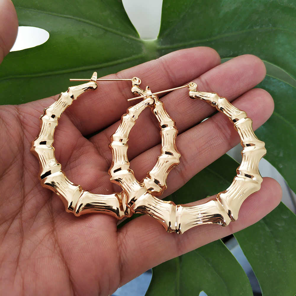 2019 Trendy Bamboo Hoop Earrings Women Female Gold Silver Color Color Classic Jewelry