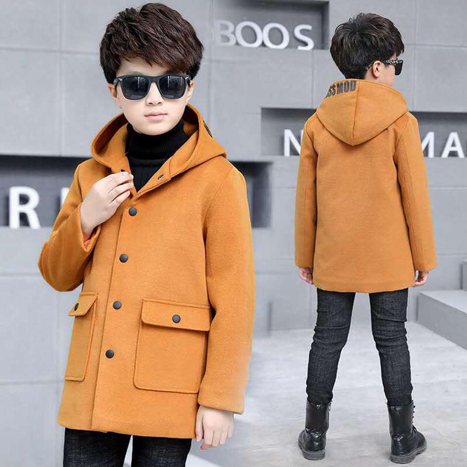 New Autumn Winter Coat Fashion Baby Boy Winter Clothes 4-13 Yrs Toddler Baby Boys Warm Long Sleeve Solid Hooded Jacket Outwear new fashion warm winter spring jacket men long sleeve zippers olive green and navy outwear loose men pakas a3744