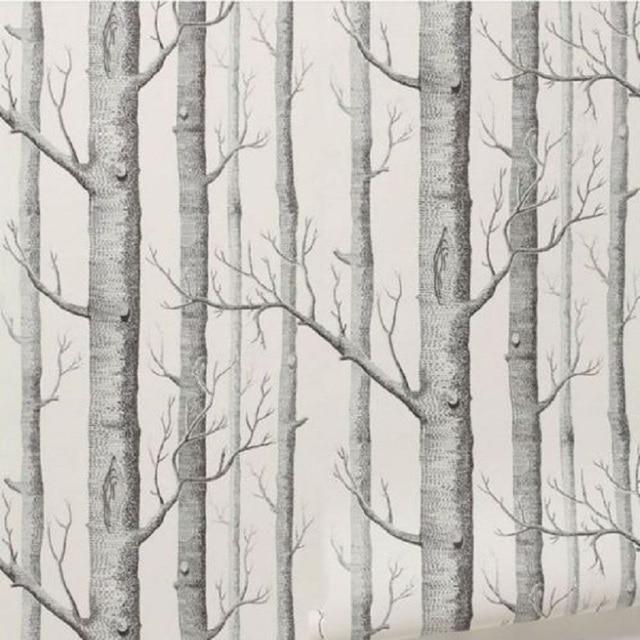 Forêt De Bouleau Arbre Rustique Moderne Minimaliste Noir Blanc