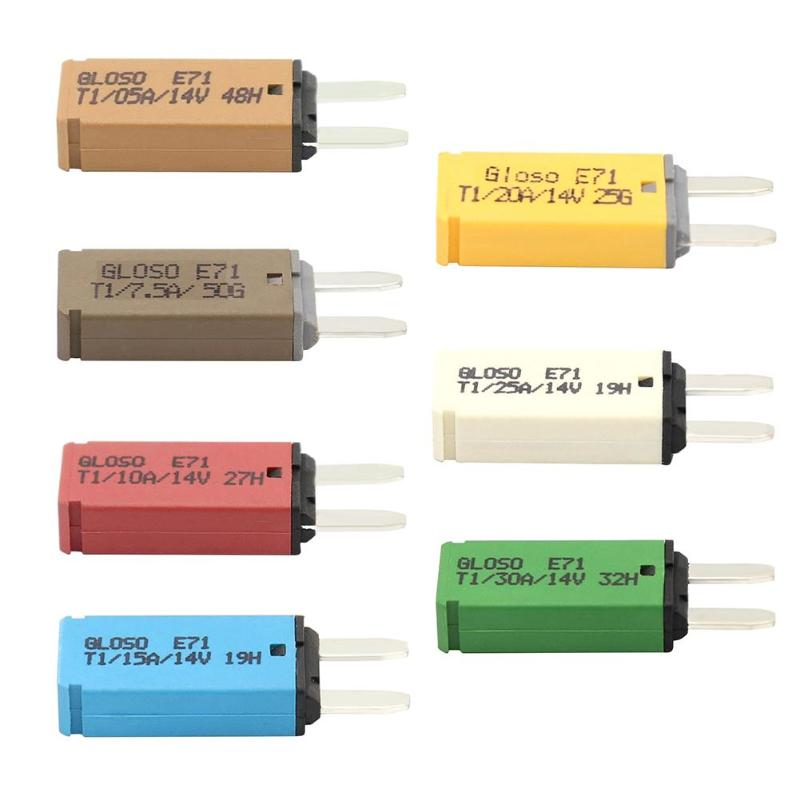 VODOOL <font><b>S</b></font> Size DC 14V Auto Car Reset Mini Fuse 5A/7.5A/<font><b>10A</b></font>/15A/20A/25A/30A ATM Circuit Breaker Blade Fuse For Auto Car Truck Boat image