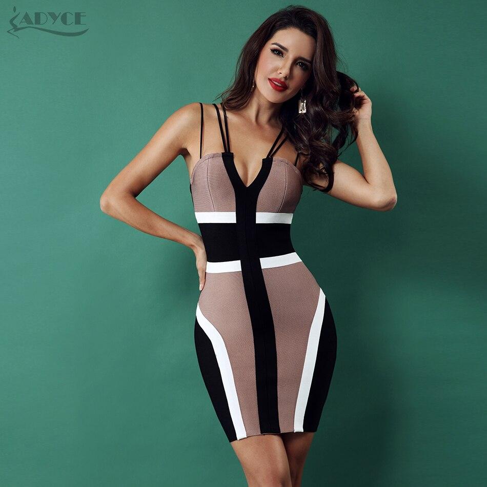 ADYCE 2019 Women Bandage Dress Celebrity Party Club Dress Sexy Spaghetti Strap V Neck Backless Sleeveless