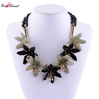PF Brand Hot Long Leather Maxi Statement Ribbon Necklace Acrylic Black Flower Necklaces Pendants Collar Necklace