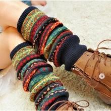 Bohemis Ladies Winter Over Knee Long Knit Crochet Leg Warmers Legging Stocking christmas hemp flowers crochet knit arm warmers