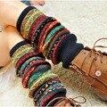 Bohemis Senhoras do Inverno Sobre O Joelho Longo Knit Crochet Polainas Legging Meia