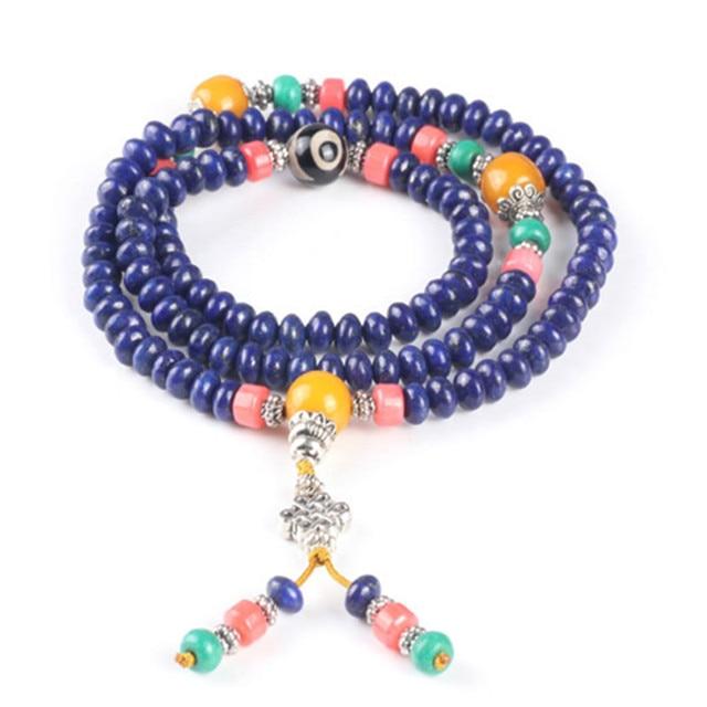 Ubeauty 6mm 108 natural lapis lazuli beads Buddha prayer rosary mala bracelet  ,women Meditation  blue stone necklace
