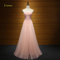 Loverxu Charming Strapless Appliques Lace Up Pink Prom Dress 2018 Luxury Beaded A Line Formal Party Gown Robe De Soiree Hot Sale