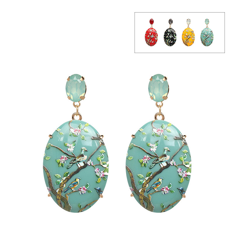 4 colors printing voal birds flower zicron vintage dangle earrings inlaid tassel drop earrings for women gift for girl