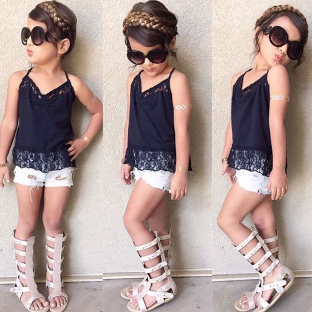 Summer Baby Girl Clothes Lace  Sleeveless Straps Vest Tank Tops + Denim Shorts Pants 2PCS Summer Beach Suit Set 0 24m floral baby girl clothes set 2017 summer sleeveless ruffles crop tops baby bloomers shorts 2pcs outfits children sunsuit
