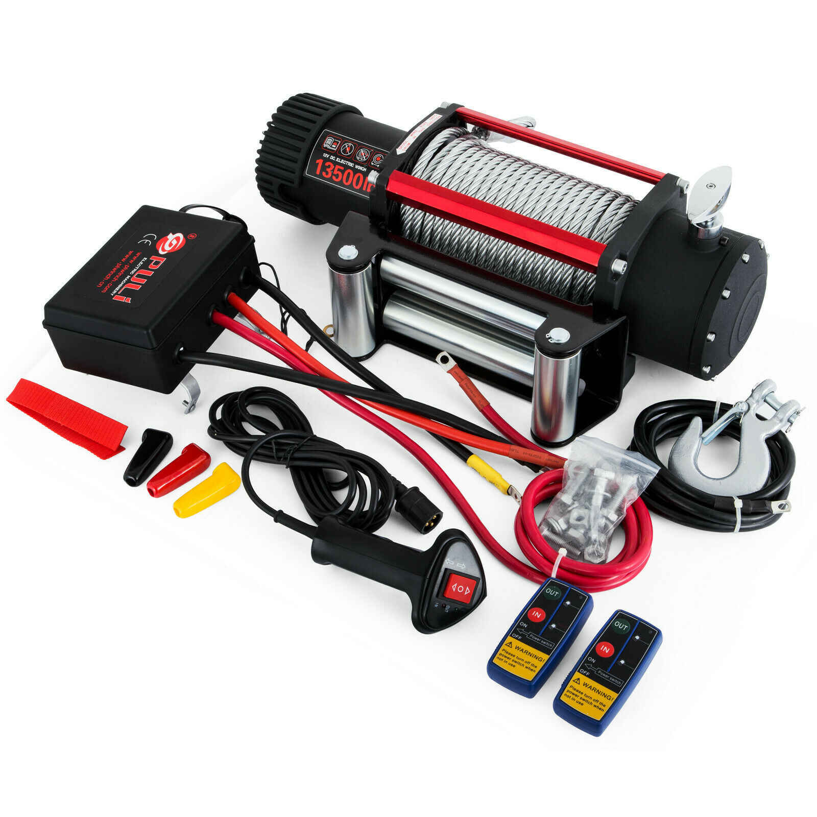 Motor Electric Winch Rope 12V Traction 6123KG 13500lbs Boat Rope Cable Winch Series Wound
