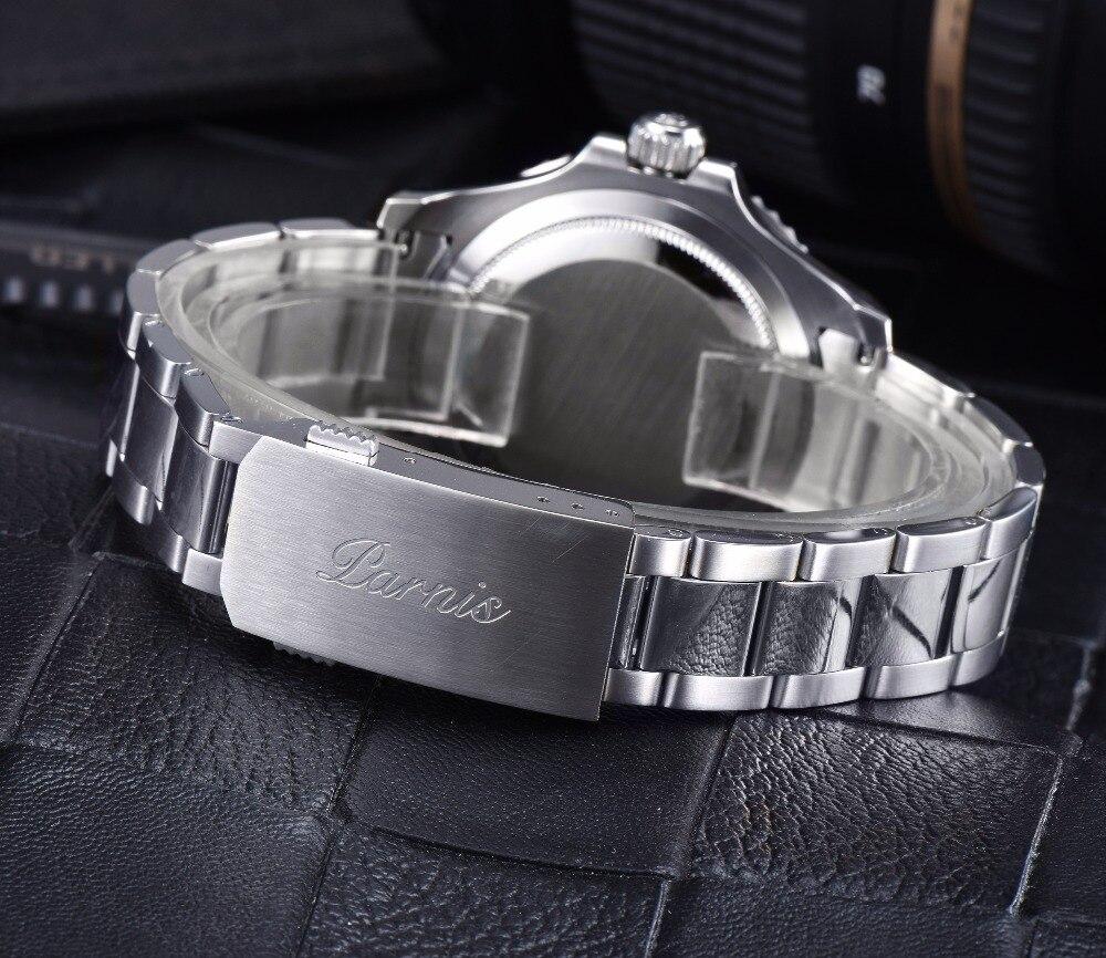 40mm masculino relógio automático relógios mecânicos trítio cerâmica mergulho 100m aço mekanik erkek kol saati reloj automatico parnis - 6