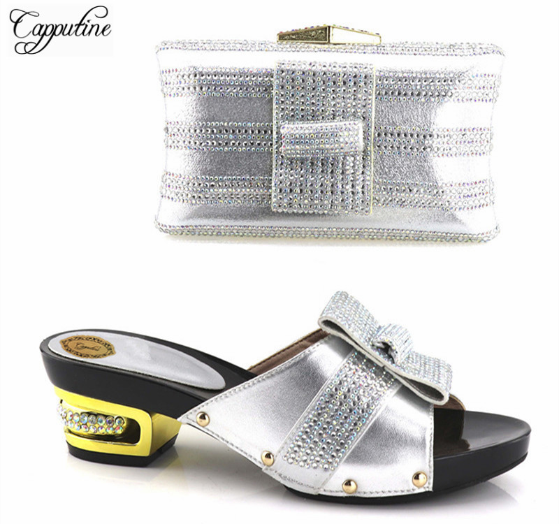 Capputine 2018 High Quality Italian Rhinestone Woman Shoes And Purse Set African Style High Heels Shoes And Bag Set For Party capputine high quality new rhinestone woman shoes and bag set africa style heels shoes and purse set for party bl435c