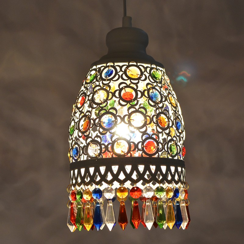 Bohemia Mediterranean retro multicolor bronze wrought iron pendant lamp  restaurant bedroom lampBohemia Mediterranean retro multicolor bronze wrought iron pendant lamp  restaurant bedroom lamp