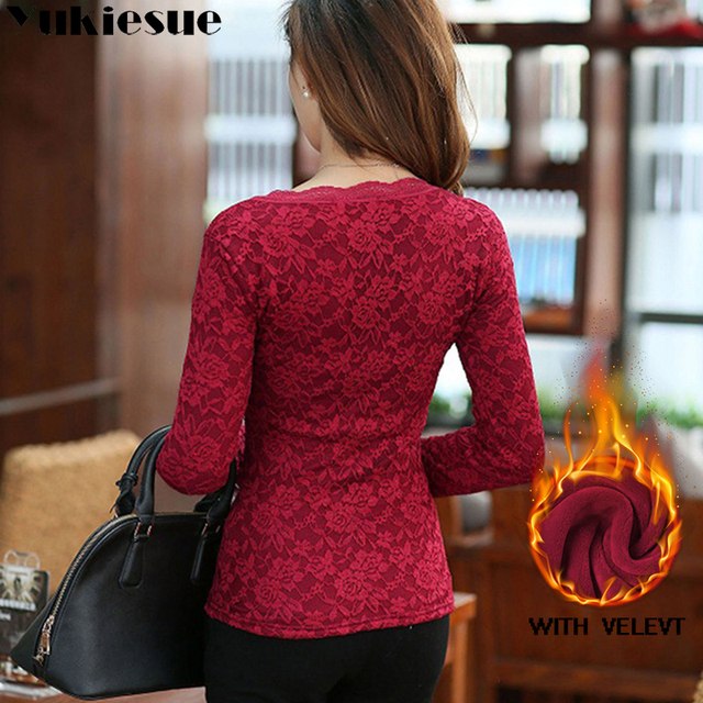 sexy white lace blouse shirt Women tops elegant winter warm fleece blouse Summer tops female blouse long sleeve blusas Plus size 6