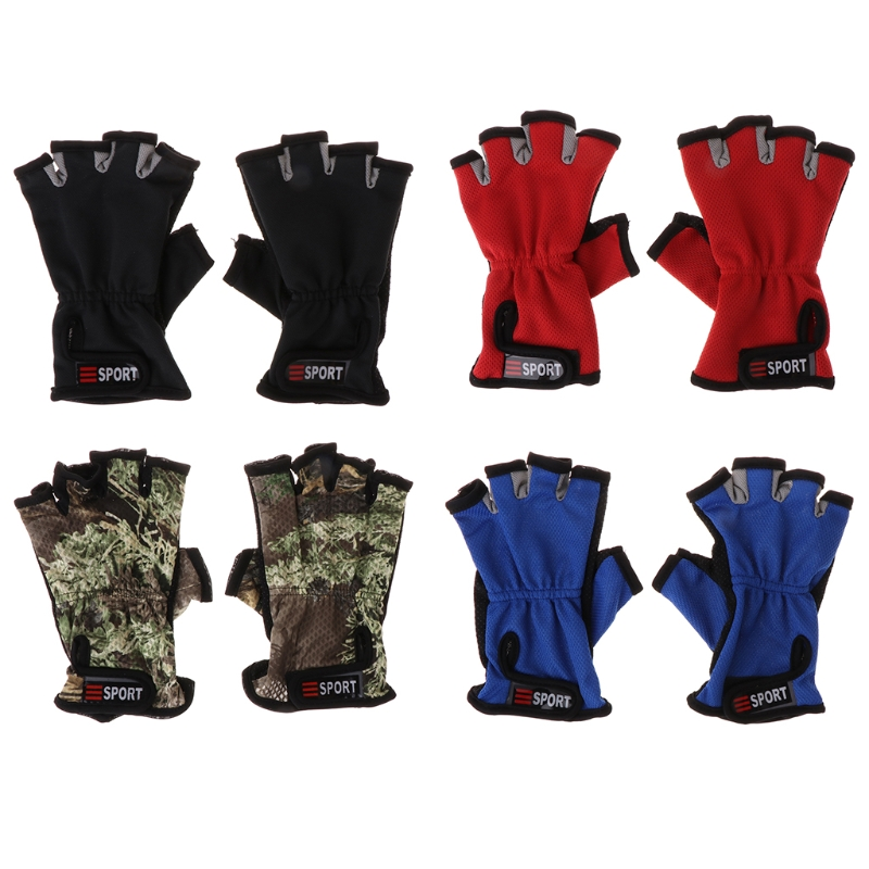 Fishing Gloves Fishing Mitten 5 Half Fingers Breathable Non Slip Outdoor Cycling Camping racmmer cycling gloves guantes ciclismo non slip breathable mens