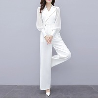 New Rompers Womens Jumpsuit Long Trousers Pants 2019 New Fashion Elegant Office Ladies Work Wear White Chiffon Jumpsuits