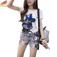 Summer 2017 New Fashion Sequins Funny T Shirts Women Cartoon Mickey T Shirt European Style Embroidery