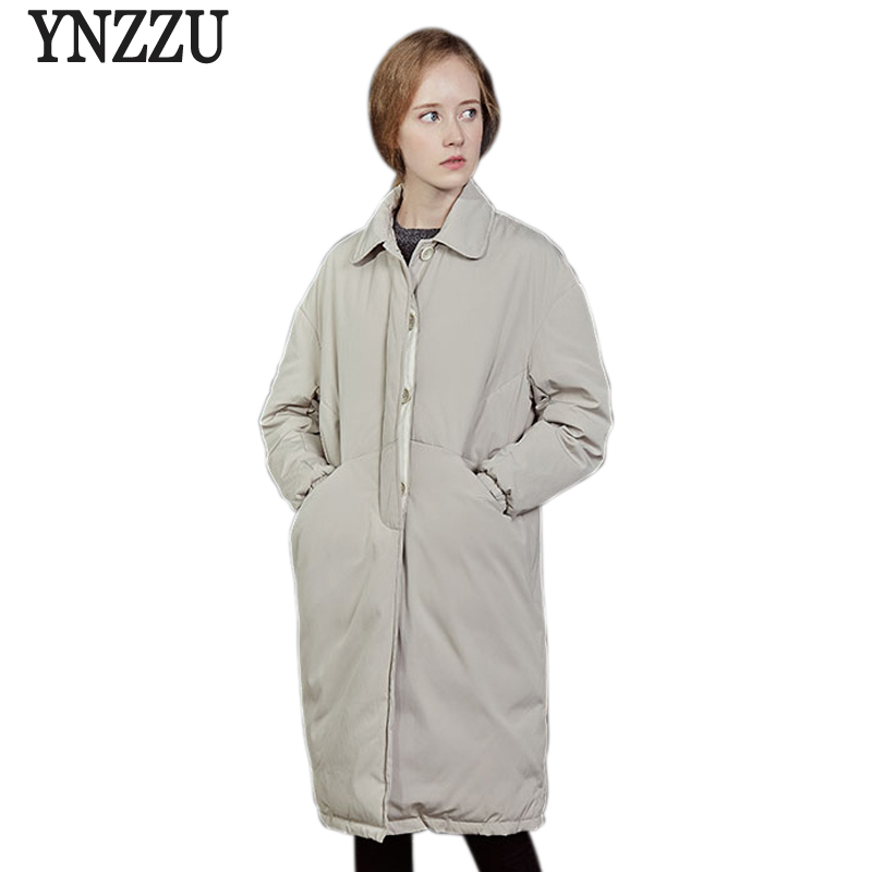 Brand 2018 Winter Jacket Women Japan Style Solid Long 90% White Duck   Down     Coat   Turn   Down   Collar Warm Loose Parka Outwears AO583