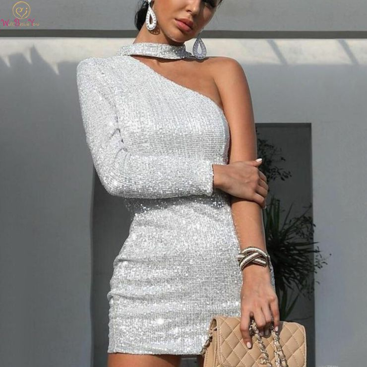 Mini Short   Cocktail     Dresses   2019 Silver Asmkmertrical Halter Neck Formal Party Prom Gown Sexy Sequined robes de longueurs genoux