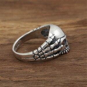 Image 3 - Echt 100% 925 Sterling Zilver Vintage Punk Poot Skull Ring Voor Mannen Mode Unieke Persoonlijkheid Skelet Sieraden