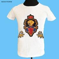 Seestern brand new APPLIQUE embroidery crown fox dog Duke UFO flying saucer lion Unicorn fashion crane men women cotton T shirt