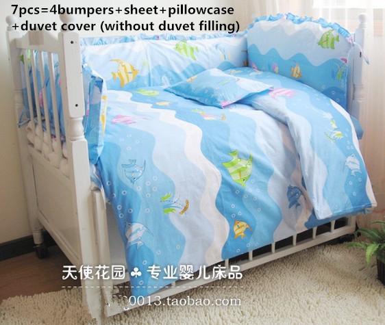¡ Promoción! 6/7 UNIDS cuna juego de cama de dibujos animados bebé ropa de cama conjunto juego de cama de bebé cuna parachoques cuna parachoques, 120*60/120*70 cm
