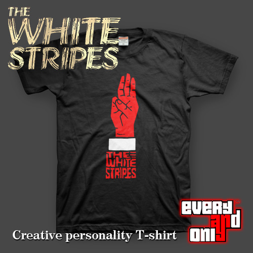 The White Stripes Blues rock Band Palm Three short sleeve T shirt ...